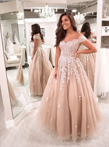 Champagne A-Line Off The Shoulder Prom Dress With Short Sleeves