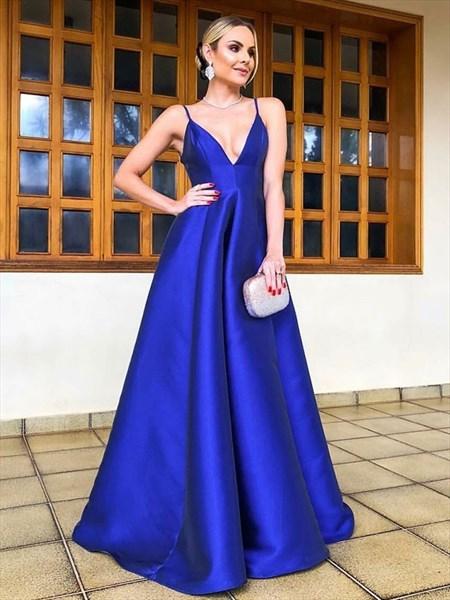 V-Neck Spaghetti Strap Royal Blue Backless Prom Evening Dress