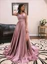 V-Neck Split Front Backless Prom Dresses  With Criss-Cross Straps
