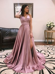 V-Neck Split Front Backless Prom Dresses  With Criss-Cross Straps