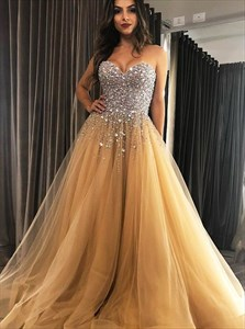 Champagne Sweetheart Tulle Prom Evening Dresses With Beading