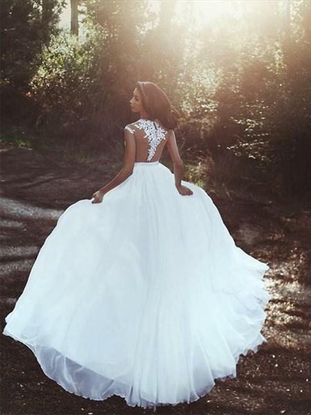 A-Line Illusion Lace Applique Split Cap Sleeves Chiffon Prom Dress
