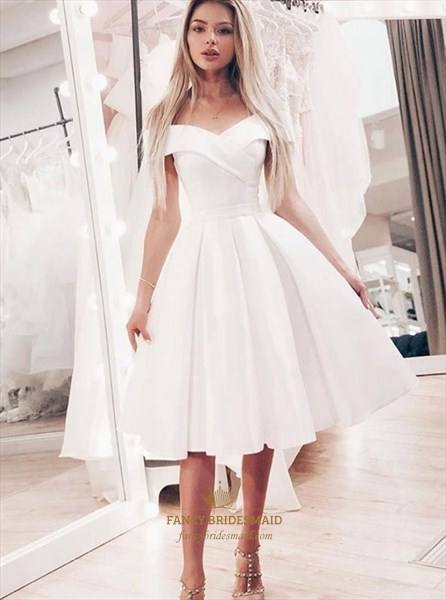 A-Line Off The Shoulder White Short Prom Homecoming Dress