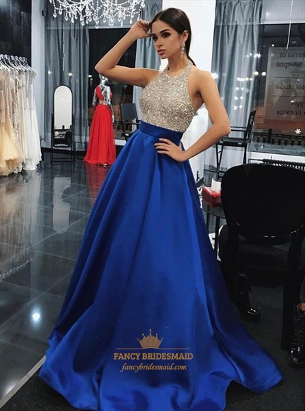 A-Line Halter Beaded Bodice Royal Blue Backless Prom Dress