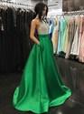 A-Line Halter Beaded Bodice Royal Blue Backless Prom Dress