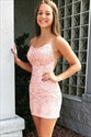 Lace Applique Sheath Spaghetti Straps Short Homecoming Party Dress