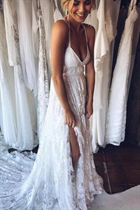 Charming Ivory Lace Spaghetti Straps Backless Beach Wedding Dresses