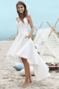Ivory Satin V-Neck Spaghetti Straps High Low Beach Wedding Dresses