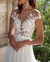 Cap Sleeves Lace Applique Bodice Split Side Chiffon Wedding Dress