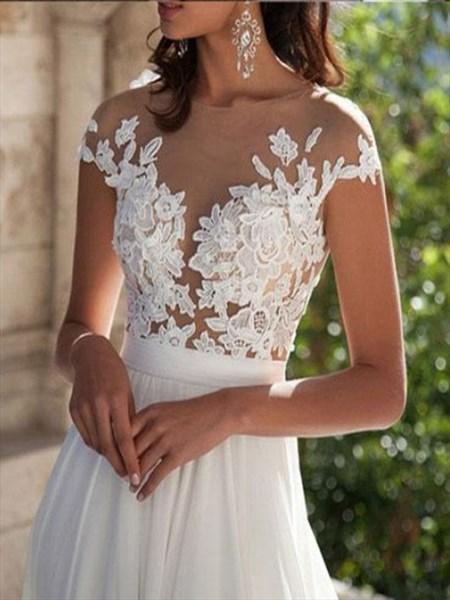 Cap Sleeves Lace Applique Bodice Split Side Chiffon Wedding Dress