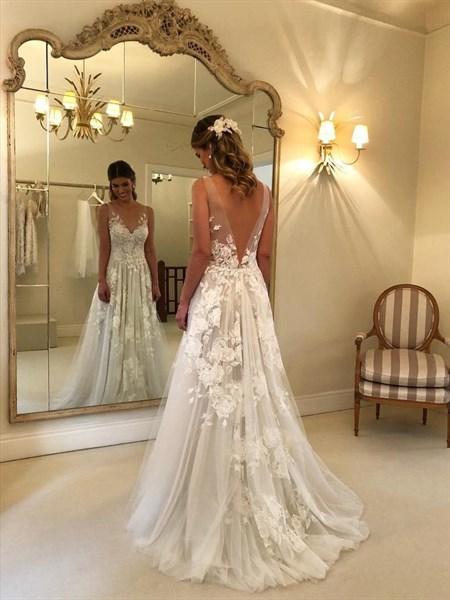 Elegant V Neck Backless Tulle Wedding Dresses With Lace Applique