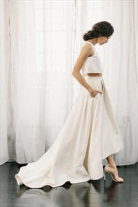 Two Piece Ivory Satin A Line Long Bridal Gown Beach Wedding Dresses