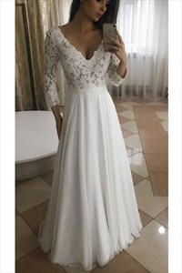 A-Line V-Neck Lace Bodice Chiffon Wedding Dress With Long Sleeves