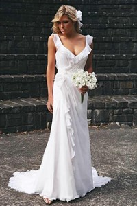 Charming Chiffon Pleated Ruffles Long Beach Wedding Dresses