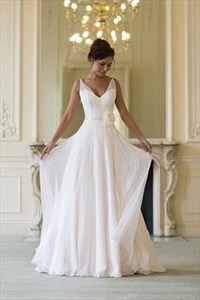 V Neck Sleeveless A-Line Floor Length Chiffon Beach Wedding Dress