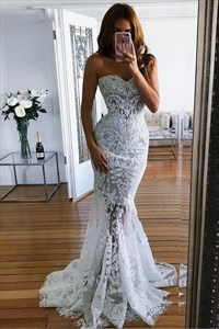 Elegant Sweetheart Lace Mermaid Sleeveless Beach Wedding Dress