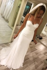 Simple Spaghetti Straps Sweetheart Sheath Long Mermaid Wedding Dresses