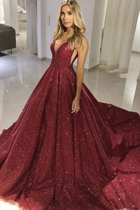 Sparkly Burgundy V-Neck Long Ball Gown Sequin Princess Prom Dresses