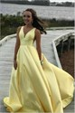 Yellow A-Line V-Neck Sleeveless Satin Long Prom Party Dresses