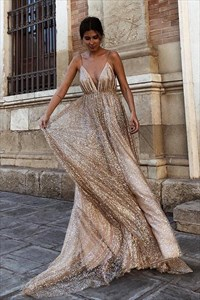 Gold Sequin Deep V-Neck Spaghetti Straps Backless Long Prom Dresses