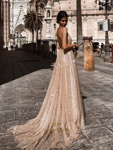 Gold Sequin Deep V-Neck Spaghetti Straps Backless Long Prom Dresses