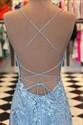 Light Blue Trumpet/Mermaid Spaghetti Straps Lace Applique Prom Dresses