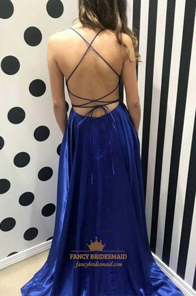 Spaghetti Straps Backless Prom Dress With Criss-Cross Straps