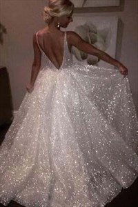 Sparkly Ivory V-Neck Backless Sequin Long Princess Prom Dresses