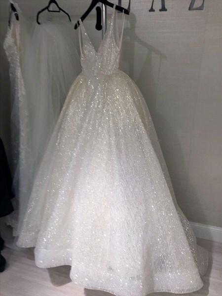 Sparkly Ivory V-Neck Backless Sequin Long Princess Prom Dresses