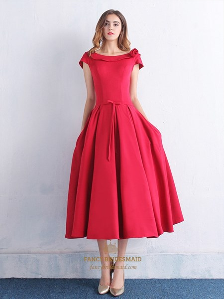 Red Tea-Length Satin Cap Sleeves Prom Dress With Bowknot
