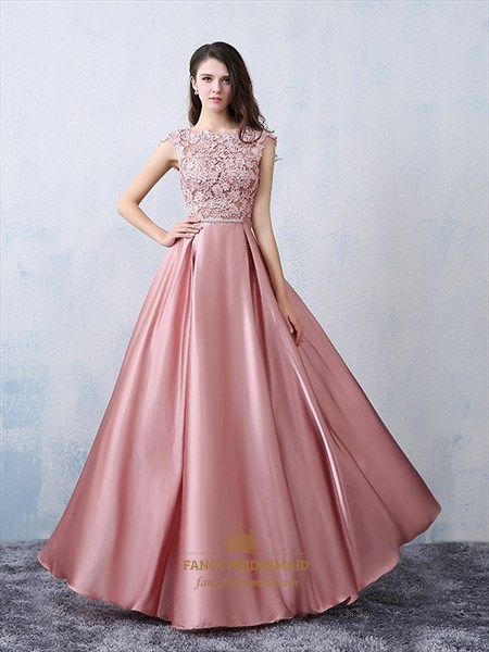Illusion Sheer Lace Applique Floor Length Prom Dress With Bowknot