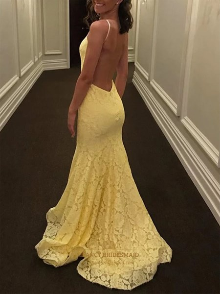 Yellow Mermaid Lace Overlay Spaghetti Strap Backless Prom Dress