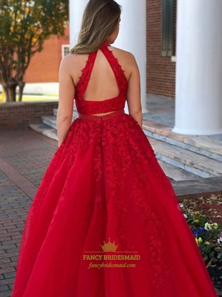 Red Two Piece High Neck Lace Appliques Beading Long Tulle Prom Dress