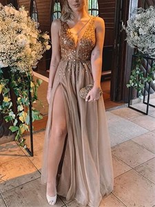 Coffee V-Neck A-Line Beading Bodice Embellished Tulle Prom Dress
