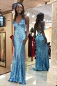 Aqua Blue Mermaid/Trumpet Spaghetti Straps Sequin Evening Dress