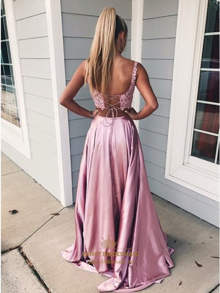 Lace Applique Bodice Two Piece Backless Prom Dress With Split Front