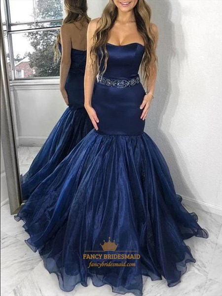 Navy Blue Organza Strapless Mermaid Beading Prom Evening Dresses