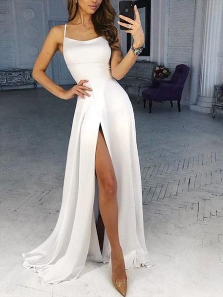 Ivory Spaghetti Straps Split Front Floor Length Prom Formal Dresses