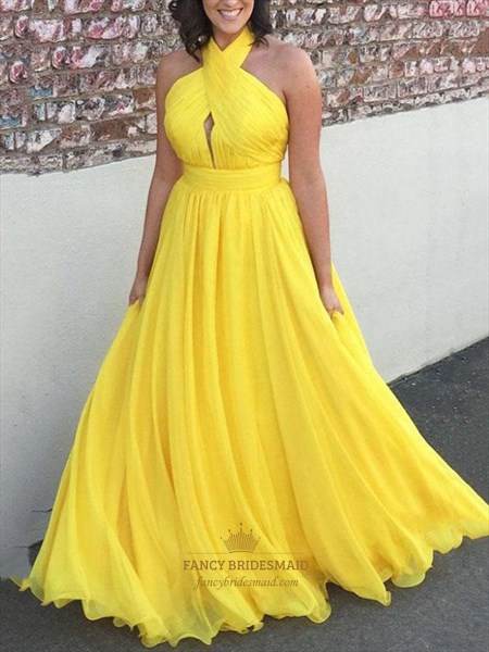 Chiffon Pleated Halter High-Neck Long Prom Dress With Front Keyhole
