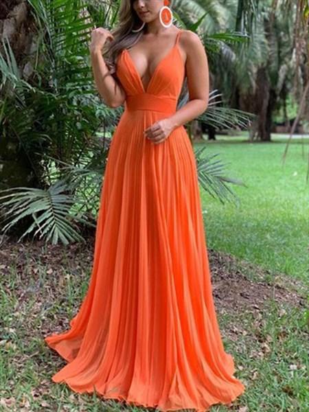 Orange Red V-Neck Spaghetti Straps A-Line Ruched Backless Prom Dress