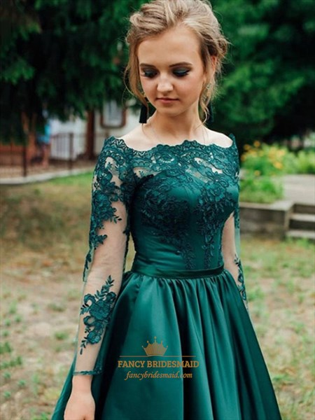 Emerald Green A-Line Lace Applique Long Sleeves Long Satin Prom Dress