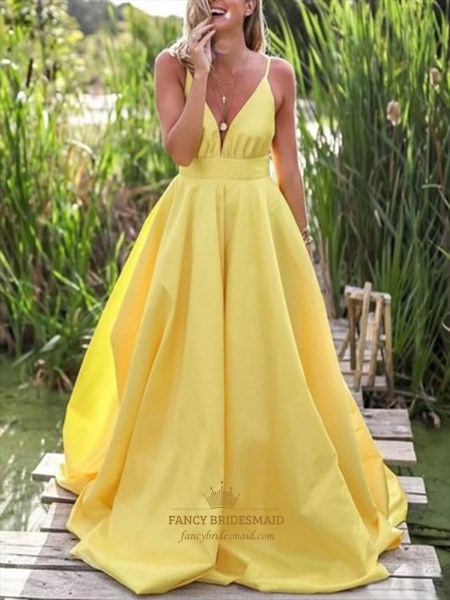 Yellow V-Neck Spaghetti Straps A-Line Backless Prom Dress