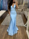 Sky Blue V-Neck Mermaid Spaghetti Straps Long Evening Dress