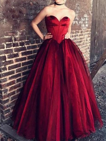 Burgundy Organza Floor-Length A-Line Sweetheart Evening Dress