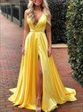 Yellow V-Neck A-Line Split Front Prom Dress With Open Back