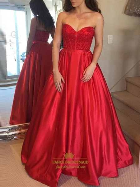 Red A-Line Sweetheart Beaded Bodice Embellished Long Prom Dress