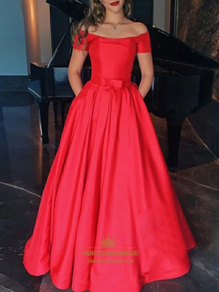 Red Off The Shoulder Short Sleeves Prom Evening Dress With Bowknot