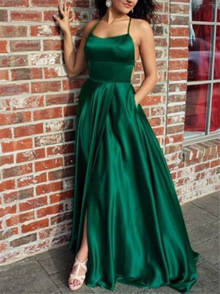 Emerald Green Split Front Criss-Cross Straps Backless Prom Dress