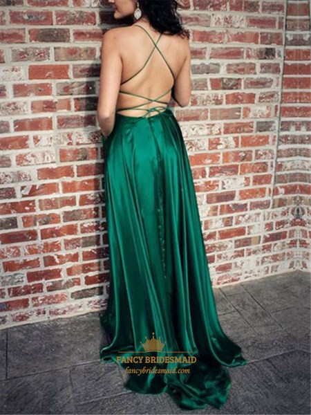 Emerald Green Split Front Criss-Cross Straps Backless Prom Dress