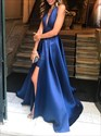 Royal Blue Deep V-Neck A-Line Halter Pleated Backless Evening Dress